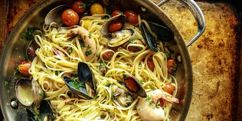 Seafood Pasta Baked in Parchment Paper