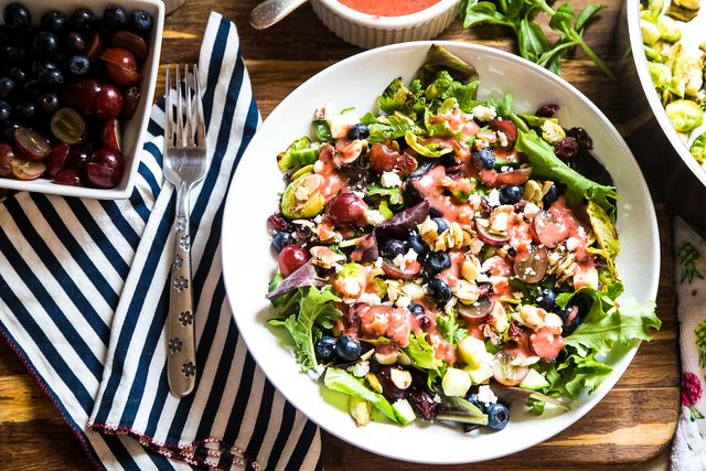 Brussels Sprout and Kale Salad with Strawberry-Basil Vinaigrette