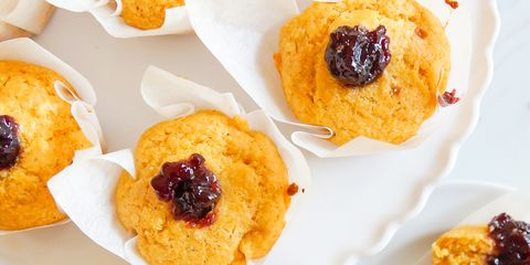 Cornmeal Muffins with Blackberry Jam