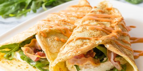 Pancetta Ricotta Crepes with Red Pepper Cream
