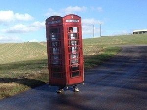 Telephone booth, Nature, Product, Road, Property, Infrastructure, Public space, Photograph, Plain, Asphalt,