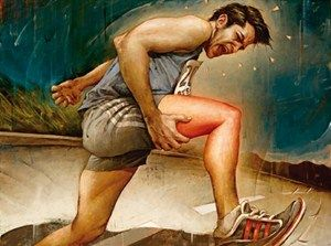 Leg, Human leg, Knee, Thigh, Sitting, Muscle, Artwork, Calf, Painting, Illustration,