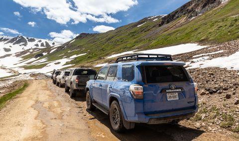 Vehicle, Regularity rally, Car, Mountainous landforms, Off-roading, Mountain, Toyota 4runner, Toyota, Sport utility vehicle, Road,