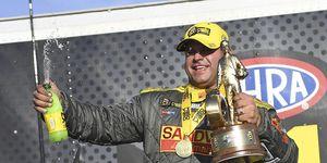Matt Hagandrives the Mopar Dodge Charger Hellcat Funny Car for Don Schumacher Racing.