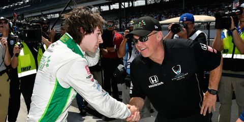 Al Unser Jr., right, is working as a coach for NTT IndyCar Series driver Colton Herta.