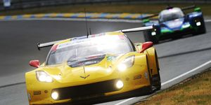 The No. 63 Corvette Racing, Chevrolet Corvette C7.R of Jan Magnussen, Antonio Garcia and Mike Rockenfeller takes practice laps at Le Mans on Wednesday.