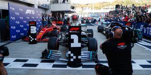 Lewis Hamilton returned to his familar spot atop the podium on Sunday in Sochi.
