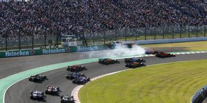 Max Verstappen and Charles Leclerc collided on the first lap of Sunday's Japanese Grand Prix.