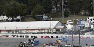 Brendan Gaughan flipped upside down during a crash late on Monday at Talladega Superspeedway.