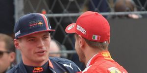 Max Verstappen, left, may have his sights set on Sebastian Vettel, right, and a possible Ferrari Formula 1 ride in 2021.