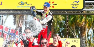 Ott Tanak celebrates his first WRC championship in Spain on Sunday.
