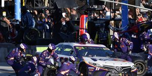 Denny Hamlin lost a chance to win the NASCAR Cup championship after overheating following a pit stop for tape.