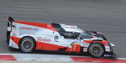 WEC points leaders Mike Conway, Kamui Kobayashi and José María López race to the win in Bahrain on Saturday.