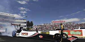Defending world champion Steve Torrence raced his Capco Contractors dragster to a run of 3.750 seconds at 326.16 mph to defeat his father's 3.768 at 326.