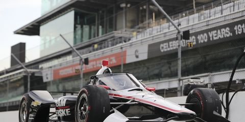 IndyCar outfitted two cars with the new aeroscreen for a track test on the Indianapolis Motor Speedway oval.