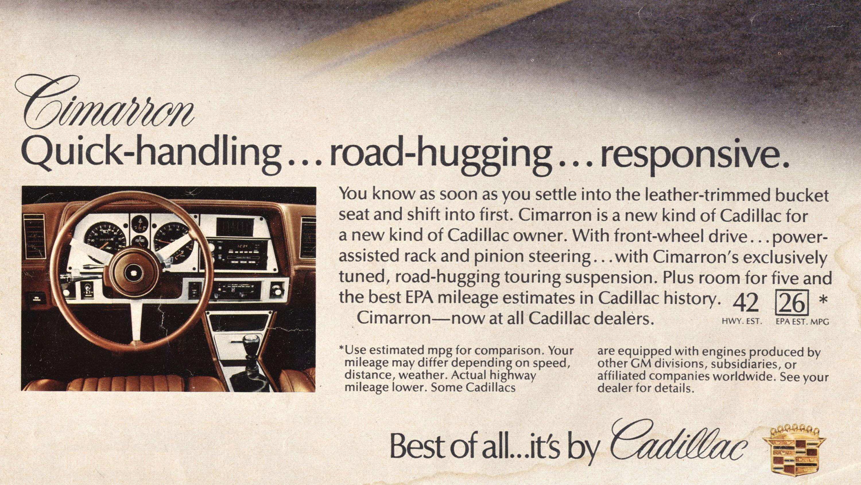 NOS Sales Brochure 1984 Cadillac Cimarron