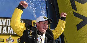 Steve Torrencecelebrates his second NHRAMello Yello Series Drag Racing Series Top Fuel Dragster championship on Nov. 22 at Pomona.