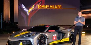"""<p style=""""margin-right:0in; margin-left:0in""""><span style=""""font-size:11pt""""><span style=""""font-family:Calibri,sans-serif"""">Team Corvette Race Driver Tommy Milner unveils Chevrolet's first midengine GTLM race car - the Corvette C8.R - Wednesday, October 2, 2019, at the Kennedy Space Center in Cape Canaveral, Florida.</span></span>"""