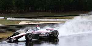 Simon Pagenaud and Ryan Hunter-Reay tested the new IndyCar aeroscreen in the rain on Monday at Barber.