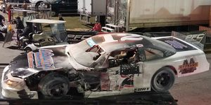 The burned remains of Justin Bonnett's Late Model car following Saturday's night's fiery crash at Pensacola, Florida.