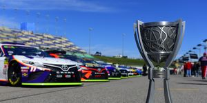"<span id=""CT_Main_1_cache_lblCaption"">A detailed look at the Monster Energy NASCAR Cup Series Champion trophy as it sits on pit road prior to the Hollywood Casino 400</span>."