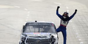 Todd Gilliland celebratedhis first win in in 46 career Truck Series starts.