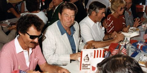 Richard Petty, left, entertained President Ronald Reagan, center, on and off the track at Daytona in 1984.