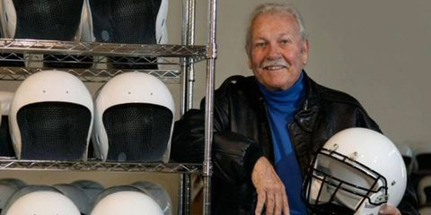 Bill Simpson spent some of his later years developing football helmets he hoped would make the sport safer.