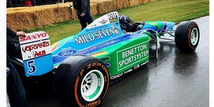 Damon Hill prepares to take the 1994 Benetton for a spin at the Goodwood Festival of Speed.
