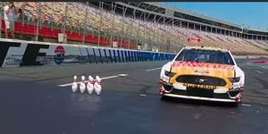 Monster Energy NASCAR Cup Series driver Aric Almirola and professional bowler Jason Belmonte teamed up for one of the crazier sports stunts recently at Charlotte Motor Speedway.