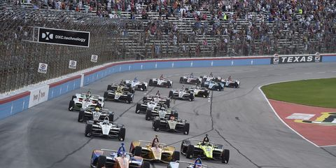 Scott Dixon and Takuma Sato lead the field to green on Saturday in the DXC Technology 600 at Texas Motor Speedway.