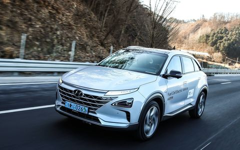 We drove, and it drove itself for a while, a Hyundai Nexo fuel cell vehicle from Seoul to the Winter Olympics. It did just fine. Sadly, we were not asked to represent America in snowboarding. Or anything else.