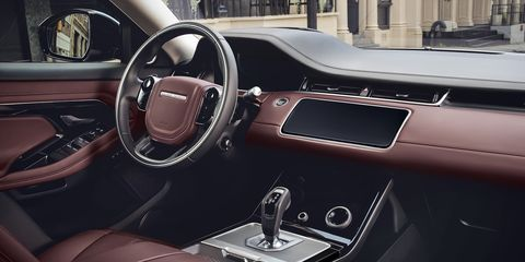 The high-tech cabin of the redesigned Evoque is available with responsibly sourced materials.