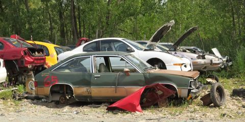 This example of a nearly-forgotten sporty Chevrolet turned up in a Wisconsin wrecking yard.