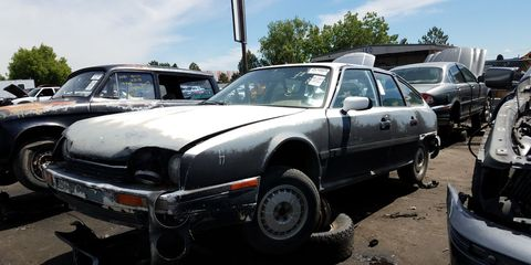 Citroën pulled out of the United States market after 1975, but some fanatics managed to import CXs anyway. Here's an '87 CX GTi in a Denver self-service wrecking yard.
