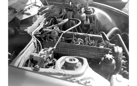 Porsche 924 engine, shot with 1910s Gauthier camera.
