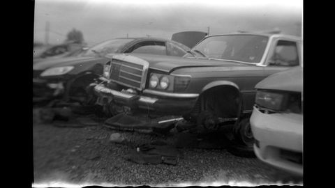 This 1980 Mercedes-Benz 300 sedan looks haunted when photographed with a UniveX Model A camera.