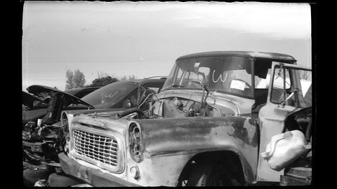 This International Harvester pickup is 43 years newer than the camera that photographed it.