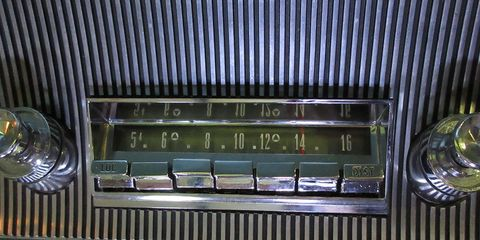 CONELRAD markings weren't required on car radios after 1963, but this 1964 Imperial's radio still has them.