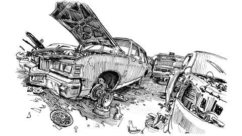 A big U-Pull junkyard offers rich material for a serious sketch artist.