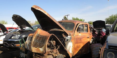 This is not the kind of car you see often in big self-service wrecking yards.