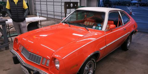 This restored 1978 Pinto, two-tone in Tangerine and Polar White paint, features turbocharged Thunderbird Turbo Coupe power.
