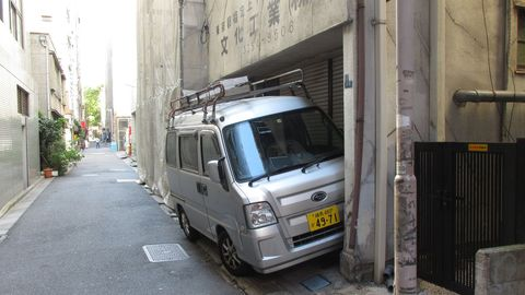 You can squeeze a kei van into tight Tokyo parking spots, as this Subaru Sambar demonstrates.