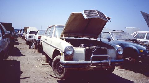 Mercedes-Benz W114s showed up in California junkyards 17 years ago, and they still show up today.