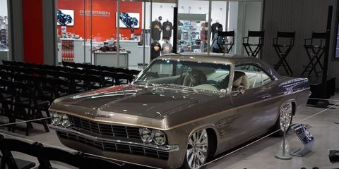 The Imposter, a '65 Impala riding atop a 2009 Corvette, was the centerpiece of the Chip Foose celebration at the Petersen Automotive Museum in Los Angeles July 23.