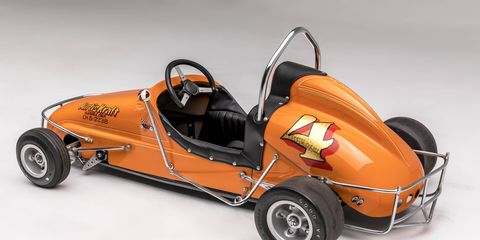 """Did you have one of these as a kid? Lucky you! Opening Dec. 16, the Petersen Automotive Museum in Los Angeles will feature an exhibit of kids race cars from the last 100 years, from a 1908 Brownie Car to a 2017 NHRA Junior Dragster. The exhibition is called, """"Sidewalk Speedsters: The Grown-up World of Children's Cars."""" If only we could fit inside them! This is a 1955 Kurtis Kraft Quarter Midget."""