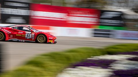 Pole sitter Toni Vilander during Friday afternoon practice at Long Beach.