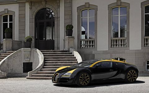 """The Bugatti Veyron Grand Sport Vitesse """"1 of 1"""" is finished in black and gold."""