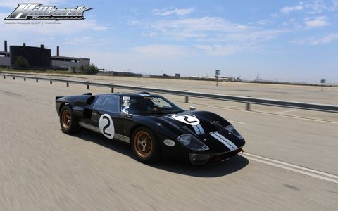 Ashton Stander let us drive his personal GT40, a black MkII. This was shot at Auto Club Speedway, which is not where we drove it, but a good place for a GT40 anyway. Thanks, Ashton!