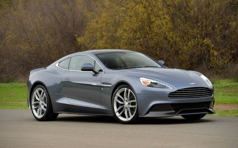 The Aston Martin Vanquish is the company's halo car, available as a coupe and Volante (convertible).